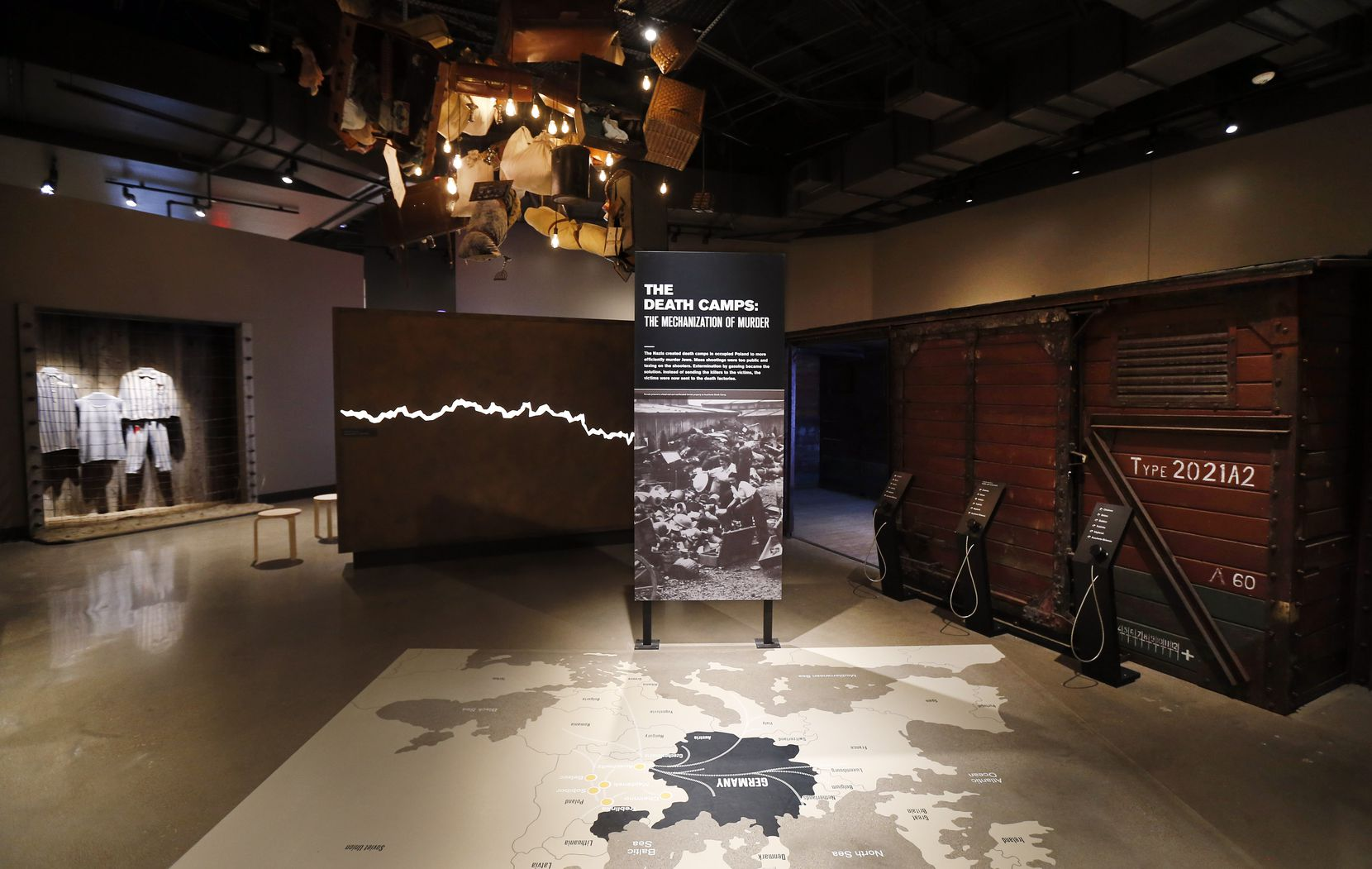 The exhibit including a refurbished German railcar (right) in the Holocaust/Shoah Wing of the Dallas Holocaust and Human Rights Museum in downtown Dallas, Tuesday, September 10, 2019.