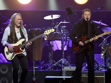 Timothy B. Schmit, left, and Don Henley of the Eagles perform at MGM Grand Garden Arena on Sept. 27, 2019 in Las Vegas, Nevada.