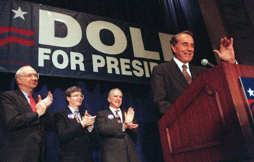 In this 1996 file photo, Rep. Joe Barton (second from left) participates in a fundraiser for Republican presidential candidate Bob Dole.