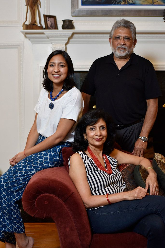 Food writer Priya Krishna, left, with her father Shailendra Krishna, right, and mother Ritu Krishna, at Priya's family home in Dallas.