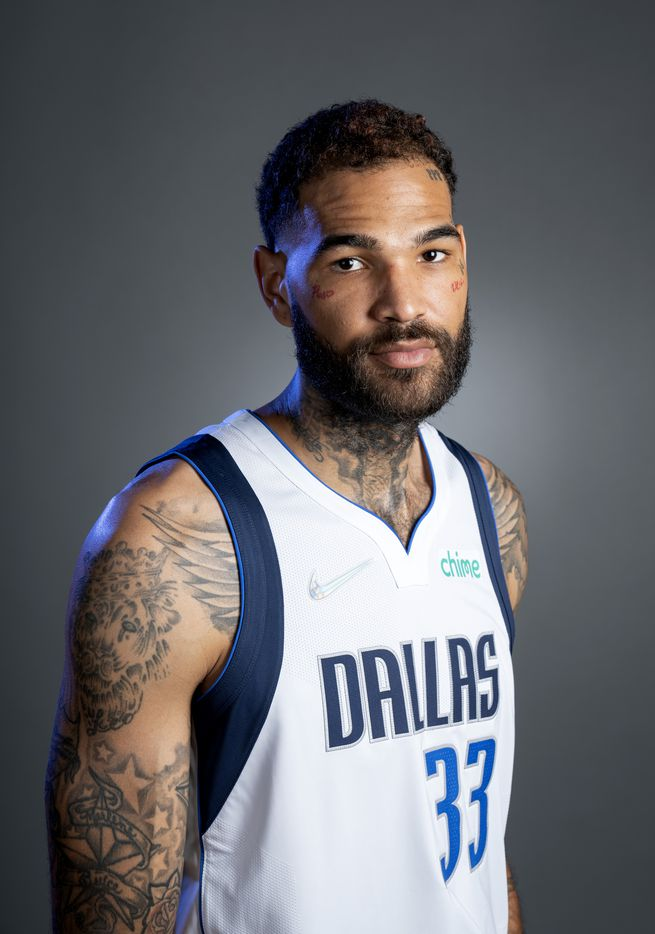Dallas Mavericks center Willie Cauley-Stein (33) poses for a portrait during the Dallas Mavericks media day, Monday, September 27, 2021 at American Airlines Center in Dallas. (Jeffrey McWhorter/Special Contributor)
