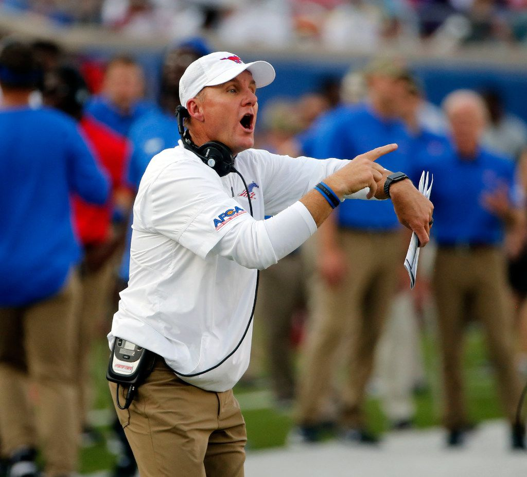 Southern Methodist head coach Chad Morris directs his team as they played Stephen F. Austin during the first half of their college football game in University Park, Texas, on September 2, 2017. (Michael Ainsworth/Special Contributor)