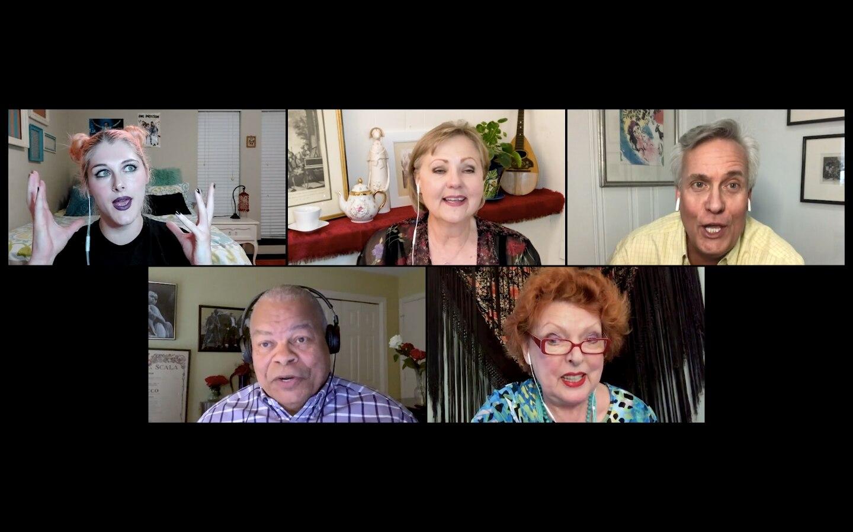 "Gabrielle Gilliam, Brenda Harris, William Burden, Donnie Ray Albert and Joyce Castle are the singers in ""Bernadette's Cozy Book Nook."""