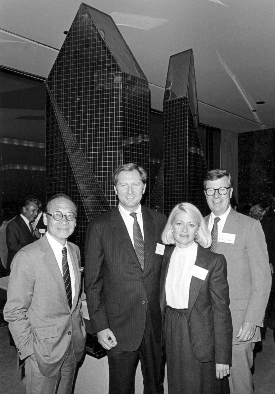 I.M. Pei (from left), Bill Criswell, Sharon Criswell and Henry N. Cobb (who was known as Harry Cobb) with a model of Fountain Place in Oct. 1983.