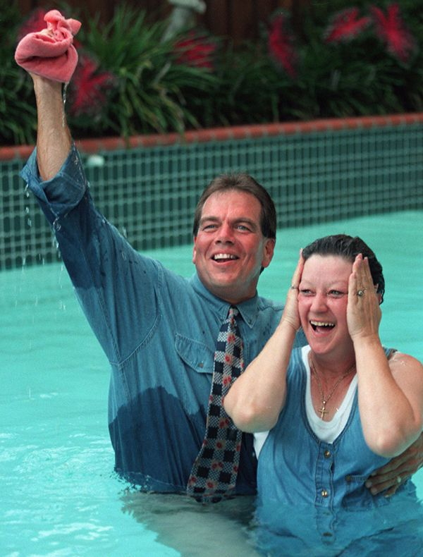 Flip Benham, director of Operation Rescue, baptized McCorvey, his former adversary, in 1995.