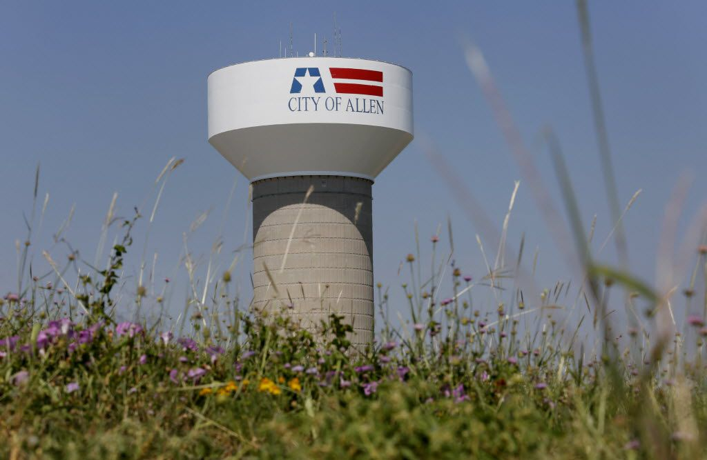 A city of Allen water tower near Prestige Circle and Bethany Drive.