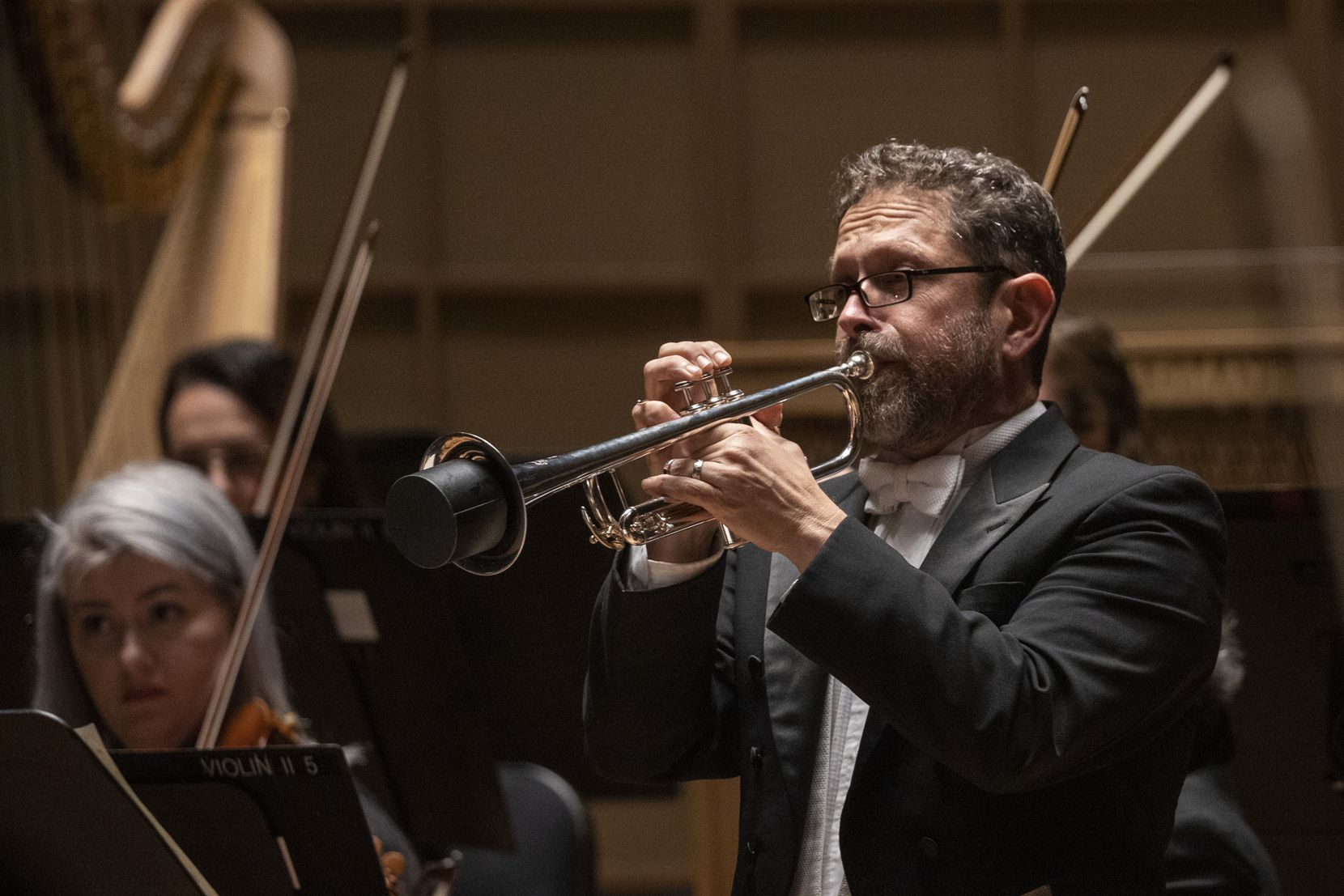 L. Russell Campbell plays the trumpet as music director-designate Fabio Luisi leads the Dallas Symphony in concert at the Meyerson Symphony Center in Dallas on Jan. 9, 2020.