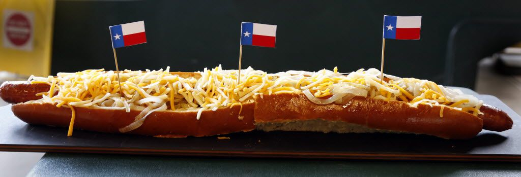 The Texas Rangers signature 2-foot-long, Boomstick hotdog is available for delivery at $30.