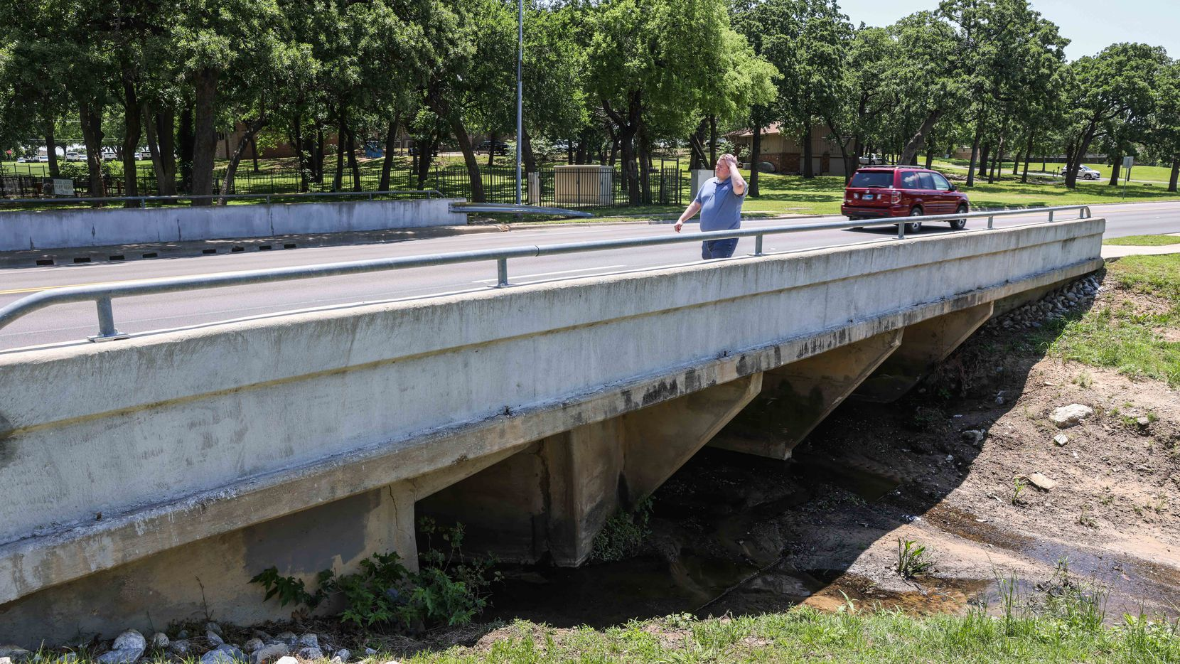 A drainage culvert under a small bridge around the 2100 block near The Arbors Apartments on Forest Ridge in Bedford on Friday, May 14, 2021. Nicholas Lloyd Nelson, a 38-year-old Tarrant County man suspect, admitted to setting off a homemade bomb in April at this location.