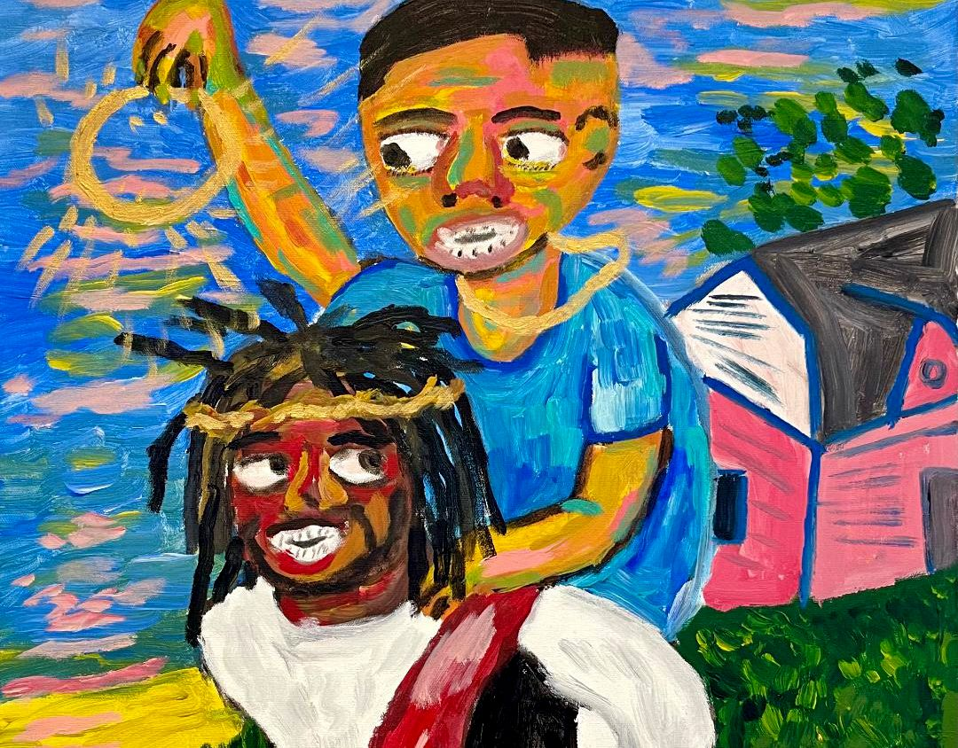 """Brandon Thompson's """"Momma Said Don't Leave Out the House Unless You Got Jesus With You"""" is among the works featured in Ro2 Art gallery's """"Hard Work, No Play"""" exhibition, which runs through Jan. 30."""