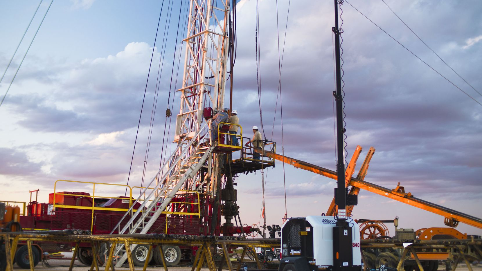 A 24-hour well servicing rig from Basic Energy Services operating in the Permian Basin.