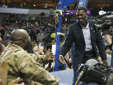 Dallas Mavericks Michael Finley greets soldiers before the start of the Seat for Soldiers annual game between the Dallas Mavericks and Utah Jazz at American Airlines Center in Dallas on Wednesday, November 14, 2018.