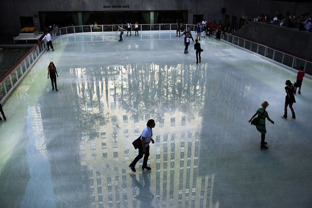 People skate at the recently opened Rink at Rockefeller Center on Oct. 14, 2014 in New York City.