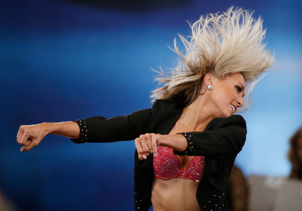Madi A. of Coppell dances during the individual talent portion of tryouts for the Dallas Cowboys Cheerleaders.