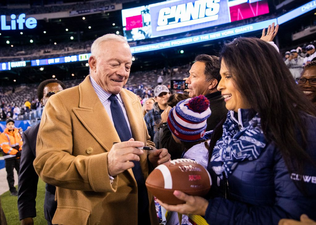 Dallas Cowboys Owner Jerry Jones signs autographs for fans before an NFL game between the Dallas Cowboys and the New York Giants on Monday, November 4, 2019 at MetLife Stadium in East Rutherford, New Jersey.