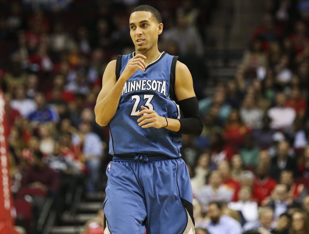 Minnesota Timberwolves guard Kevin Martin (23) reacts after making a basket during the fourth quarter against the Houston Rockets at Toyota Center. The Rockets won 107-104.