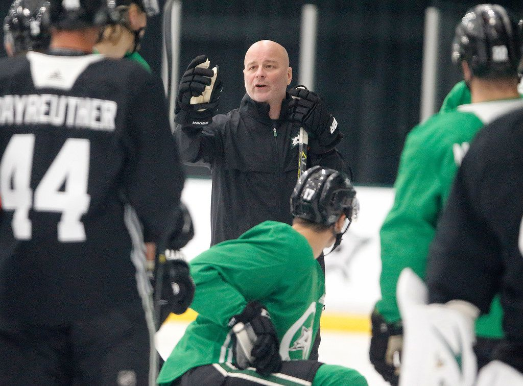 Dallas Stars head coach Jim Montgomery addresse his players as the Dallas Stars held training camp at the Comerica Center in Frisco on Sunday, September 15, 2019. (Stewart F. House/Special Contributor)