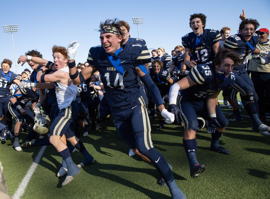 Austin Regents players celebrate after winning a TAPPS Division II state championship game against Dallas Christian in Hewitt on Saturday, Dec. 19, 2020. Austin won with a touchdown in the final second, 26-20. (Juan Figueroa/ The Dallas Morning News)