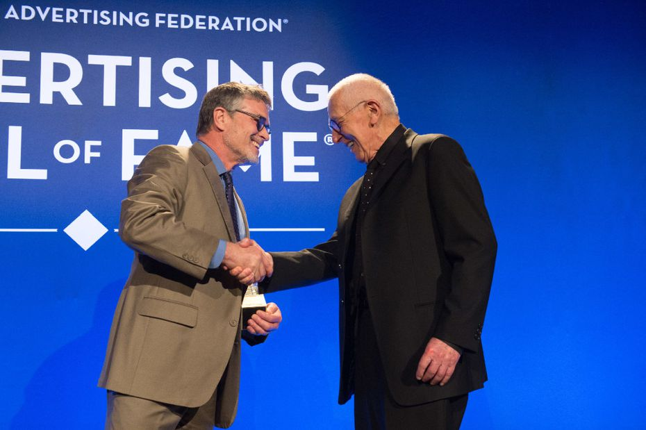 Motel 6 spokesman Tom Bodett congratulates Dallas advertising icon Stan Richards as he's inducted into the American Advertising Federation's hall of fame in New York on April 25. Photo by Rob Loud