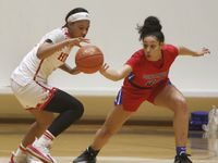 Duncanville's Laila McLeod (right) attempts to knock the ball away from Mesquite Horn's Jasmine Shavers (3) during first half of Duncanville's 82-52 win Tuesday. (Steve Hamm/Special Contributor)