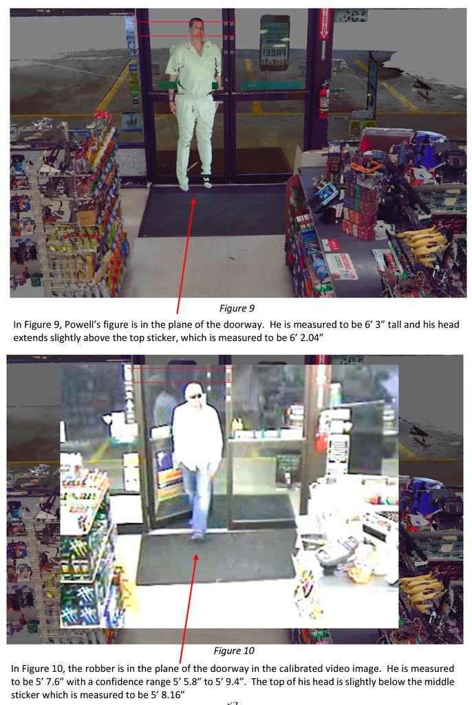 Grant Fredericks conducted measurements of George Powell at the request of the Texas Forensic Science Commission. Above is an excerpt from his report in which an image of Powell (top) is shown superimposed into video footage of a convenience store to demonstrate the height difference between him, and the man (below) who robbed the store.