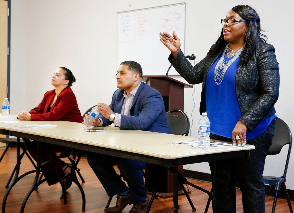 Candidates for Dallas City Council District 5 -- Ruth Torres (from left), Jaime Resendez and Yolanda Faye Williams -- answered questions during a candidate forum sponsored by the Community Watch Group of Bruton Terrace and Hillside Oaks Crime Watch at Pleasant Oaks Recreation Center in Dallas on April 4, 2019.
