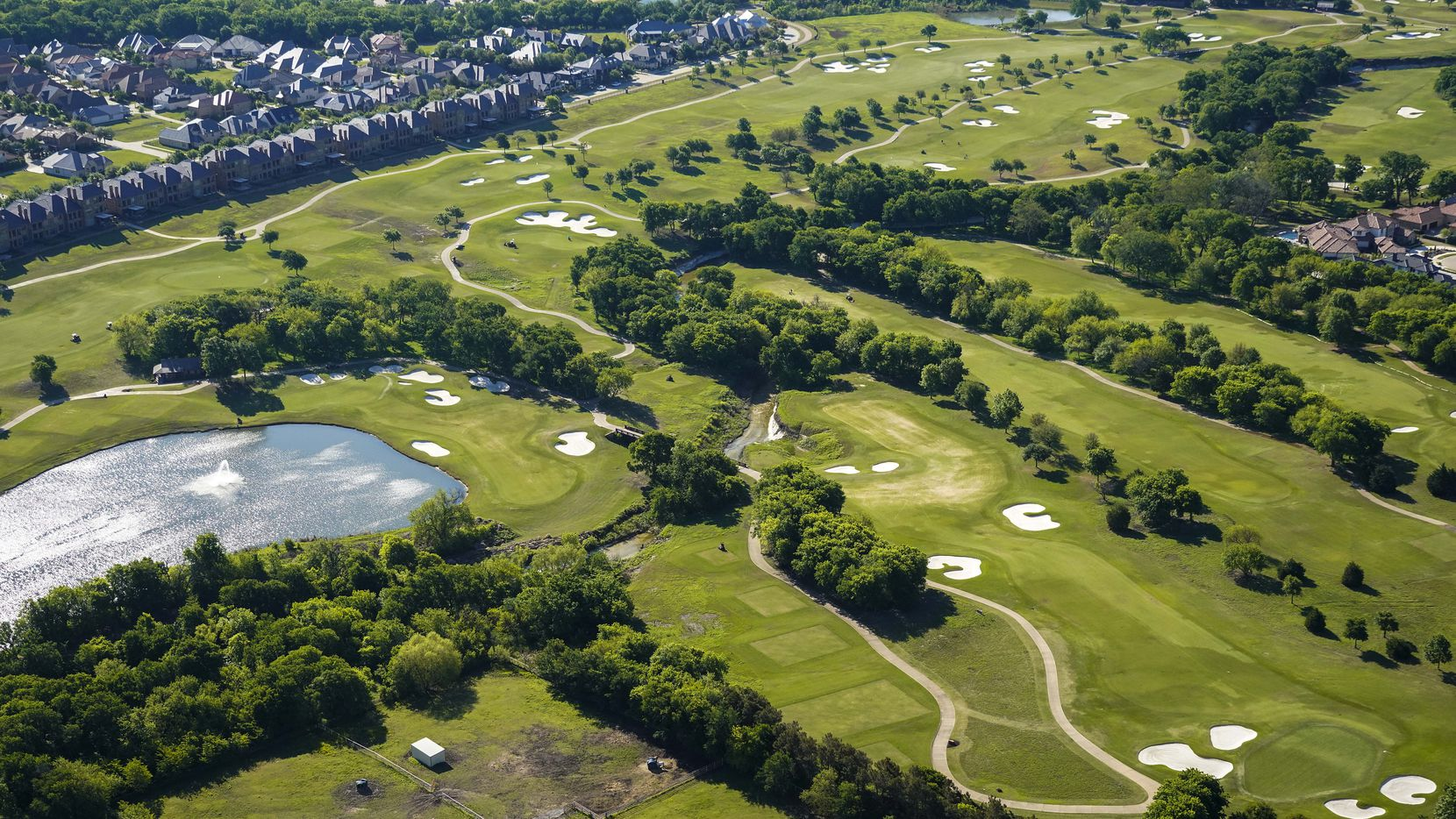Aerial view of TPC Craig Ranch golf course on Thursday, April 16, 2020, in McKinney, Texas. (Smiley N. Pool/The Dallas Morning News)
