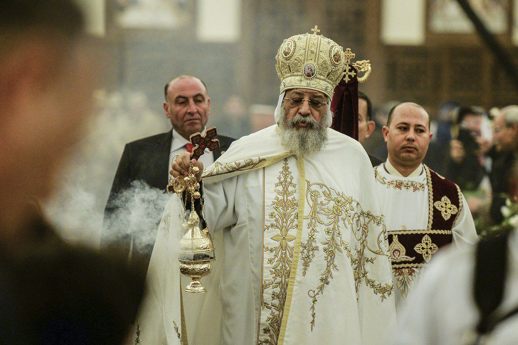 Pope Tawadros II of Alexandria leads mass at the Cathedral of the Nativity of Christ in Egypt's New Administrative Capital on Jan. 6, 2019. Egypt was set to inaugurate a massive cathedral amid heavy security on Coptic Christmas Eve Sunday, a day after a deadly bomb blast near a church in the country where jihadists have repeatedly targeted Christians. President Abdel Fattah al-Sisi observed a moment of silence after the Jan. 5, 2019 explosion on the eastern edge of Cairo, that killed a policeman who was trying to defuse the device and wounded two others.