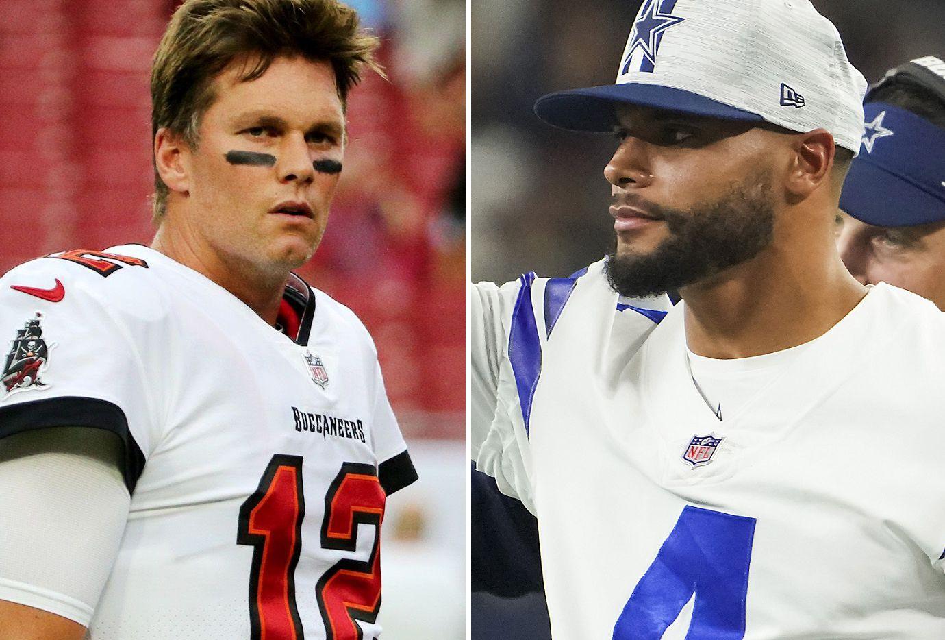 Bucs quarterback Tom Brady (left), Cowboys quarterback Dak Prescott (right).