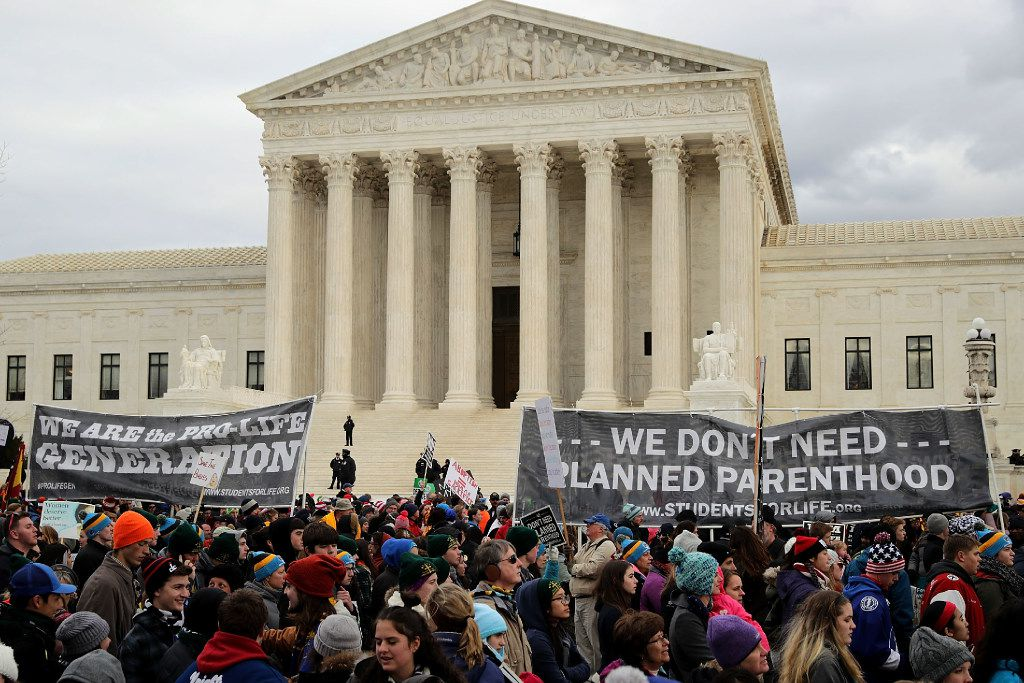 WASHINGTON, DC - JANUARY 27:  Thousands of anti-abortion protesters walk past the front of the U.S. Supreme Court building during the 43rd annual March for Life January 27, 2017 in Washington, DC. The march is a gathering and protest against the United States Supreme Court's 1973 Roe v. Wade decision legalizing abortion.  (Photo by Chip Somodevilla/Getty Images)