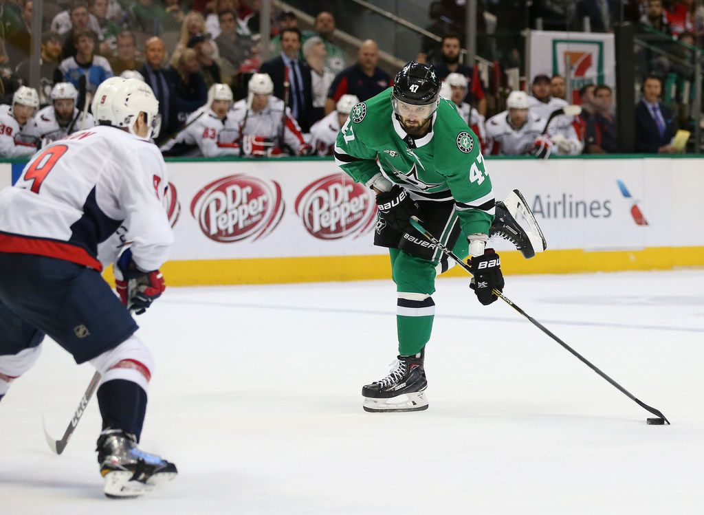 Alexander Radulov (47) scores a goal in the third period during a game between the Washington Capitals and the Dallas Stars at the American Airlines Center on December 19, 2017.