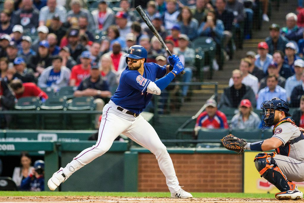 Texas Rangers outfielder Joey Gallo bats during the first inning against the Houston Astros at Globe Life Park on Wednesday, April 3, 2019, in Arlington. (Smiley N. Pool/The Dallas Morning News)