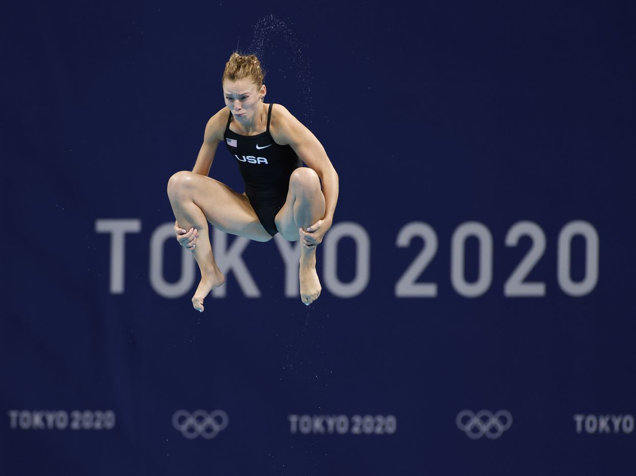 USA's Hailey Hernandez dives in round 2 of 5 in the women's 3 meter springboard semifinal competition during the postponed 2020 Tokyo Olympics at Tokyo Aquatics Centre, on Saturday, July 31, 2021, in Tokyo, Japan. (Vernon Bryant/The Dallas Morning News)