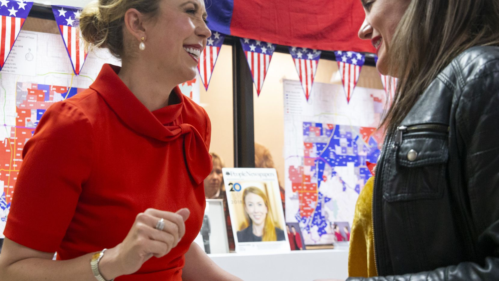 Texas Congressional District 32 candidate Genevieve Collins (left) celebrates with her friend Allison Richie during an election watch party at Collins' campaign headquarters in Dallas on March 3, 2020. Collins faces incumbent Democrat Colin Allred in November.