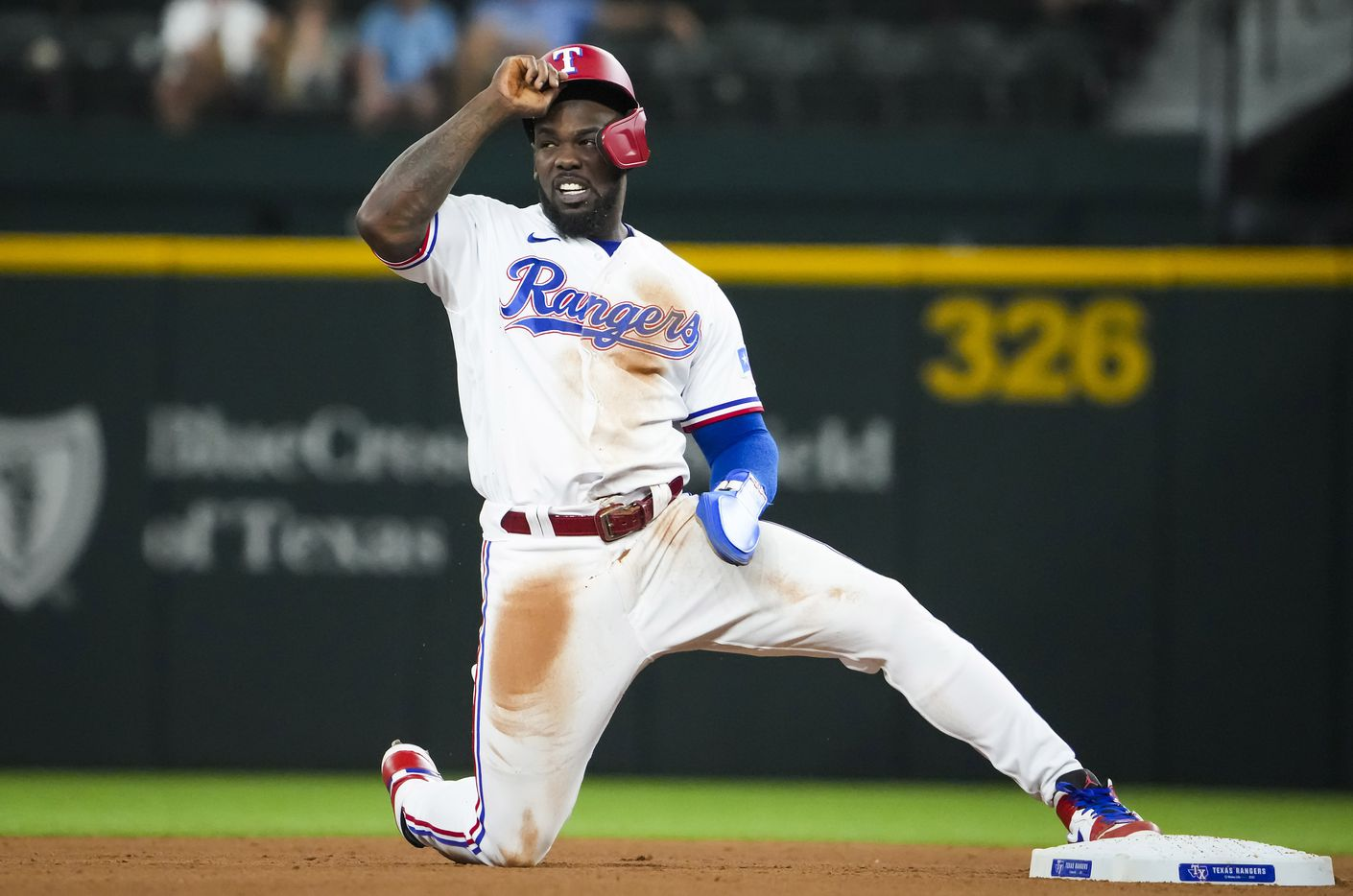 Texas Rangers center fielder Adolis Garcia reacts after being caught stealing during the fourth inning against the Detroit Tigers at Globe Life Field on Tuesday, July 6, 2021.