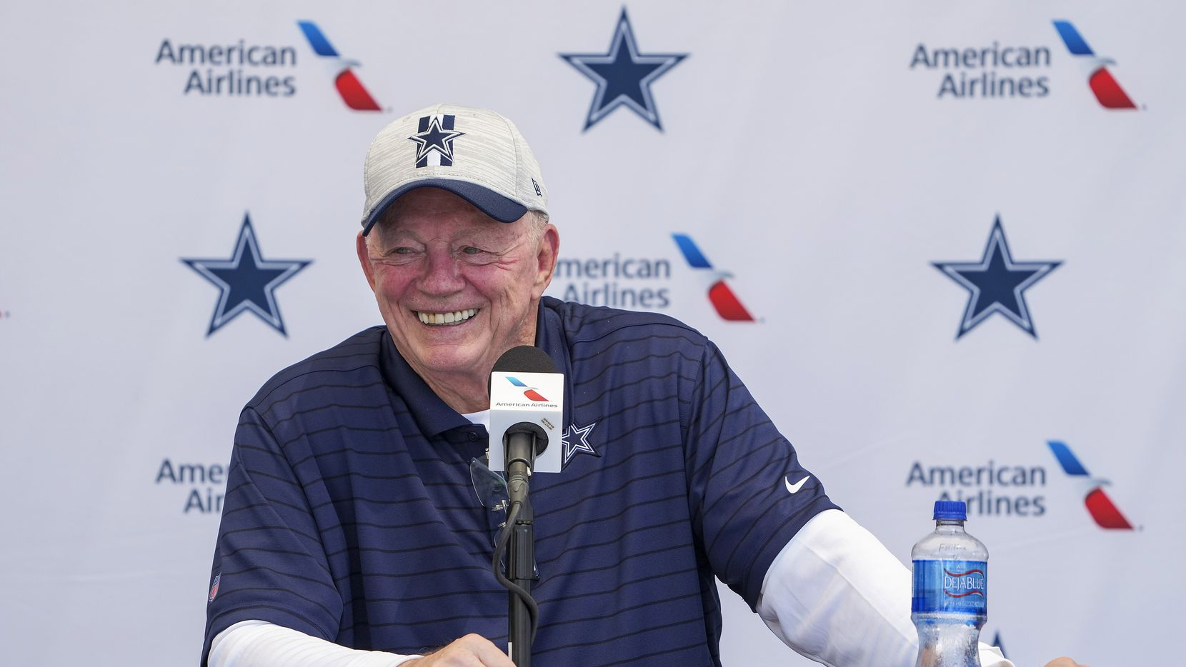 Dallas Cowboys owner and general manager Jerry Jones addresses the opening news conference for team's training camp on Wednesday, July 21, 2021, in Oxnard, Calif.
