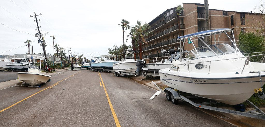 Boats line the streets after Hurricane Harvey hit Port Aransas, Texas on Aug. 25, 2017.   (Nathan Hunsinger/The Dallas Morning News)
