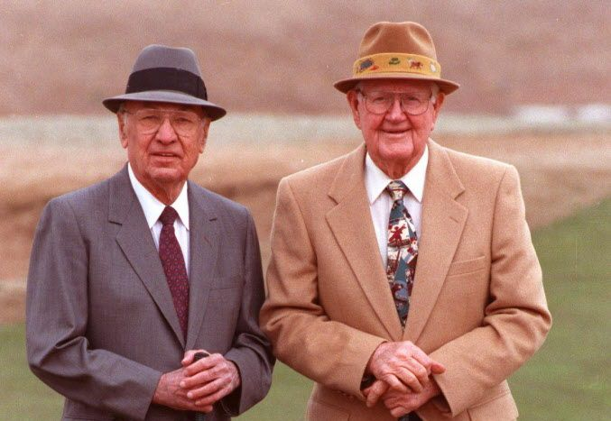 In this 1992 photo, Ben Hogan (left) poses with with Byron Nelson. The Dallas Morning News photographer David Woo worked for years trying to arrange a photo shoot with Byron Nelson and Ben Hogan. After giving Woo five minutes at Colonial Country Club in Fort Worth to do his work, the two walked off the green, old friends and competitors just chatting about golf games from years past. Nelson later told Woo this image was the only photograph of both men together since the mid-1940s.