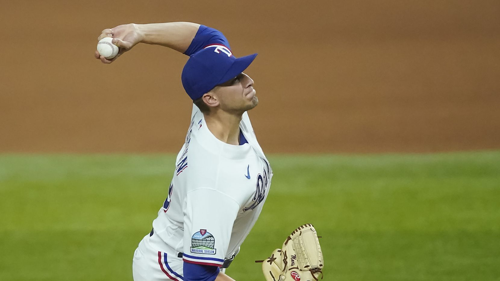 Texas Rangers pitcher Brett Martin delivers during the seventh inning against the Los Angeles Angels at Globe Life Field on Wednesday, Sept. 9, 2020.