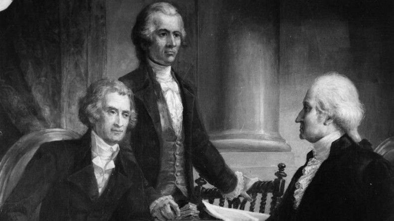 Painting of Thomas Jefferson, Alexander Hamilton and George Washington