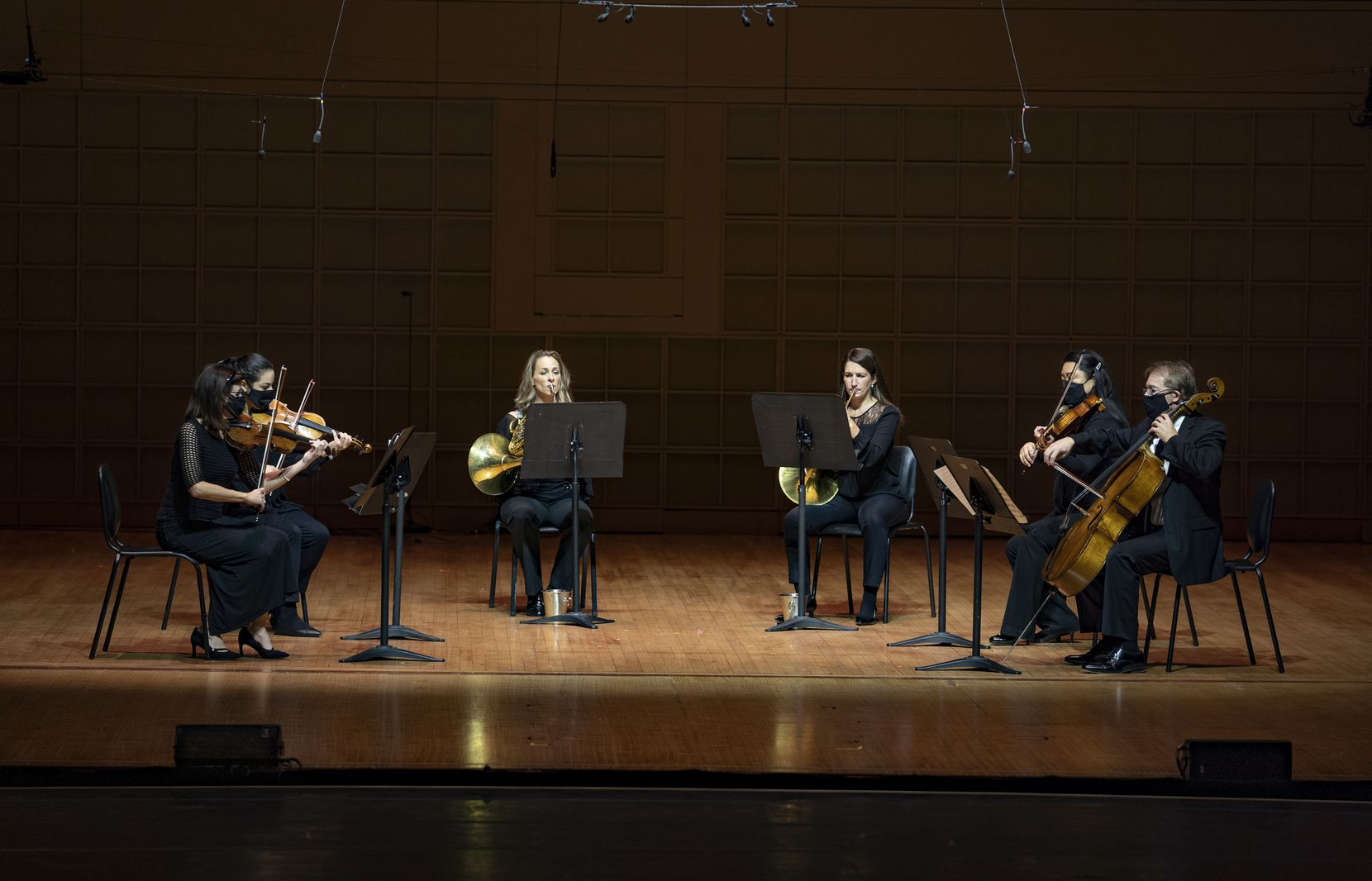 Maria Schleuning (violin), Jenna Barghouti (violin), Haley Hoops (horn), Jaclyn Rainey (horn), Christine Hwang (viola) and Jolyon Pegis (cello) perform Beethoven's Sextet for Horns and String Quartet during the Women in Classical Music Chamber Concert at the Meyerson Symphony Center in Dallas on Nov. 9.