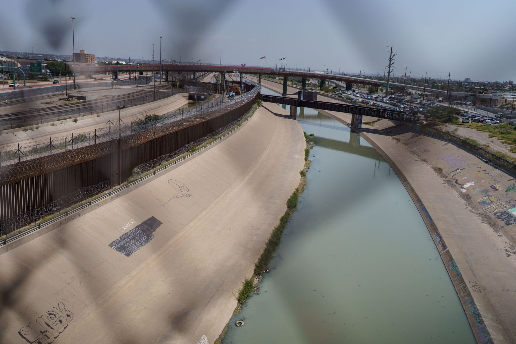 The Rio Grande, which marks the U.-Mexico border line, as it passes through El Paso-Ciudad Juarez, Chihuahua state, Mexico on September 9, 2021.
