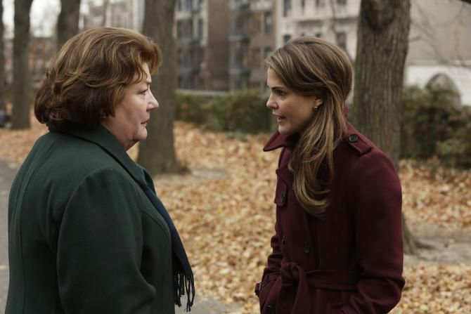 """THE AMERICANS -- """"A Little Night Music"""" -- Episode 4 from Season 2 Pictured: (L-R) Margo Martindale as Claudia, Keri Russell as Elizabeth Jennings"""