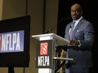 FILE — Executive director DeMaurice Smith, of the NFL Players Association, speaks at the annual state of the union news conference Thursday, Jan. 30, 2020, in Miami Beach, Fla.
