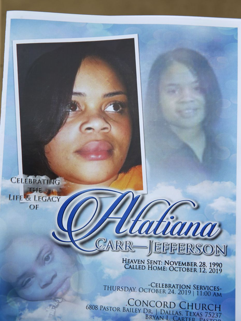 Program for Atatiana Jefferson at Concord Church in Dallas on Thursday.