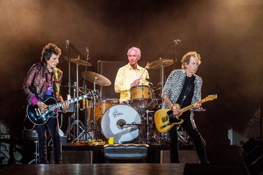 Ronnie Wood, from left, Charlie Watts and Keith Richards of The Rolling Stones perform at the Mercedes-Benz Superdome on Monday, July 15, 2019 in New Orleans.