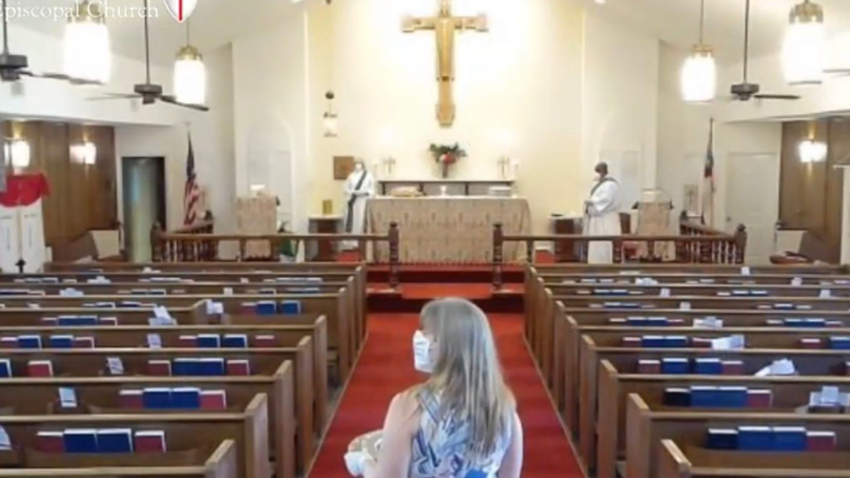 Screen shot of livestream of Aug. 9, 2020 church service at St Martin-in-the-Fields Church in Southlake. Church members were outside in their cars for the first in-person service since February.