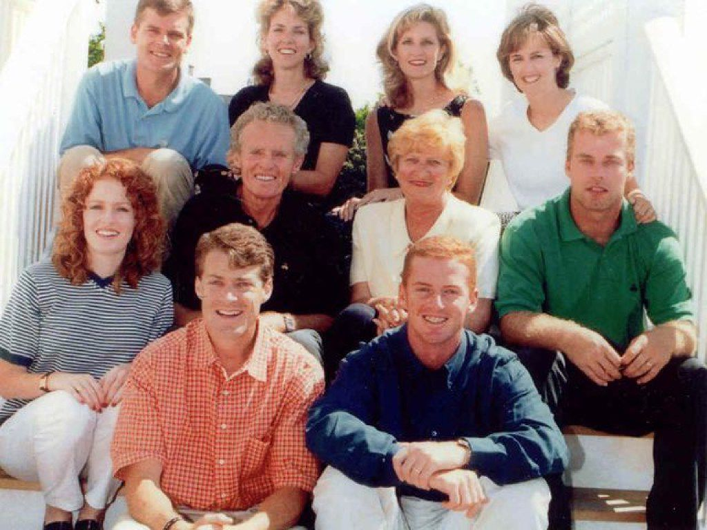 A portrait of the Garrett family, taken at the family home in Monmouth Beach, N.J.,  about 15 years ago. Top row: Jim III, Jane, Jennifer and Janine. Middle row: Jill, Jim (father), Jane (mom) and Judd. Bottom row: John and Jason.