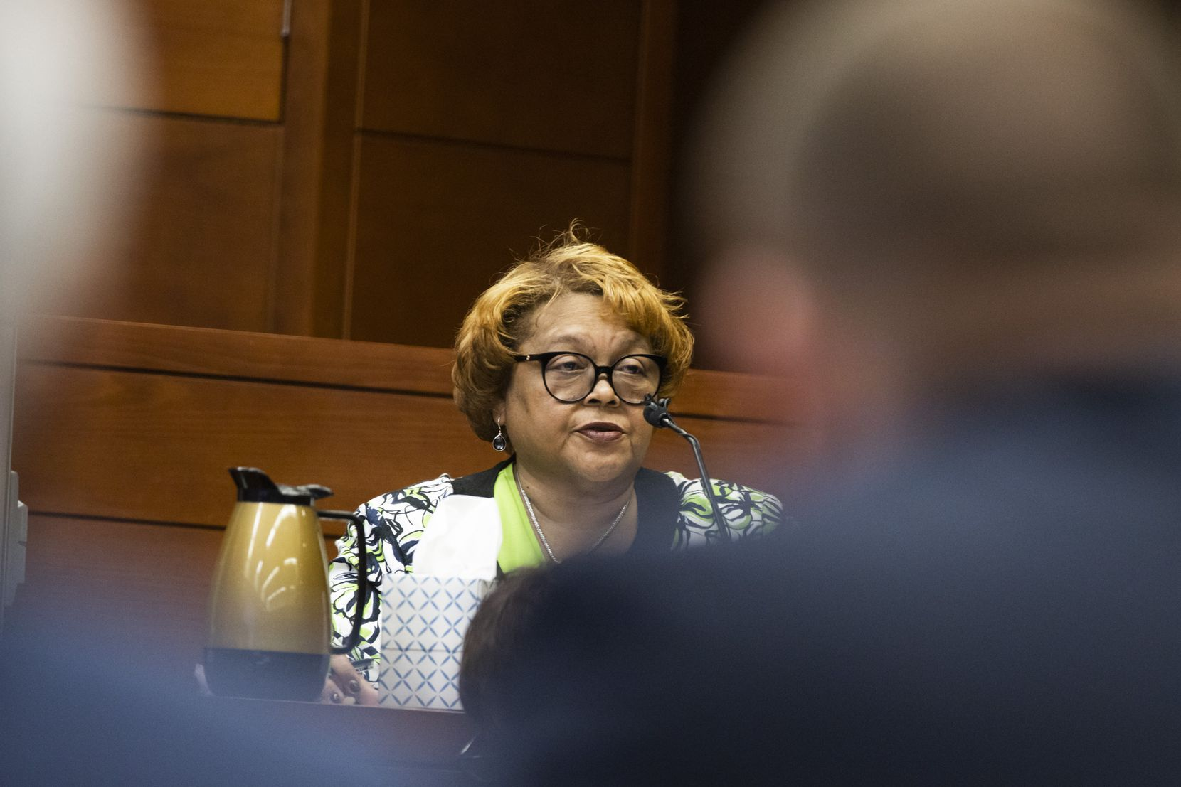 Dallas County Elections Administrator Toni Pippins-Poole testifies during a hearing before Judge Emily Tobolowsky (not pictured) at the George Allen Dallas County Civil Court building in downtown Dallas on Tuesday, March 10, 2020. Tobolowsky granted Pippins-Poole to reopen the primary election ballot results to verify the ballots counted at 44 voting locations last Tuesday. (Lynda M. Gonzalez/The Dallas Morning News)
