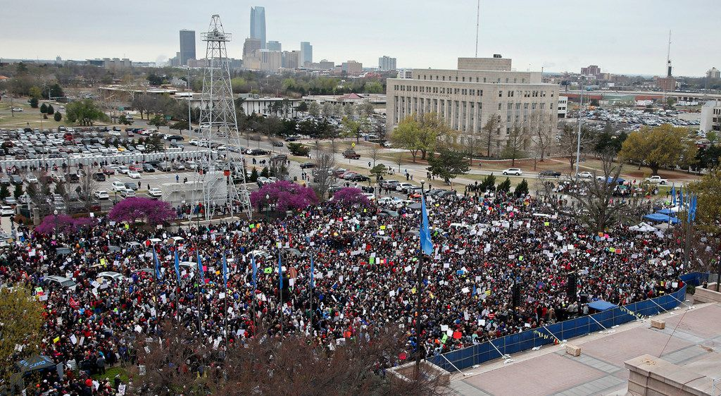 A crowd fills the south lawn of the state Capitol in Oklahoma City, Monday, April 2, 2018, during a teacher rally to protest low student funding. Teachers were holding separate protests in Oklahoma and Kentucky on Monday to voice dissatisfaction with issues like pay and pensions.